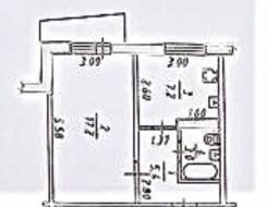 1-комнатная, улица Шелеста 120. Железнодорожный, агентство, 34,6кв.м. План квартиры